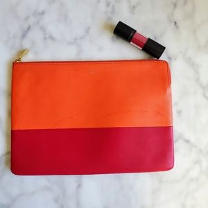 Cèline 2-Tone Leather Zippered Pouch